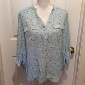 Torrid Blouse 00 Light Blue Black Polka Dot L